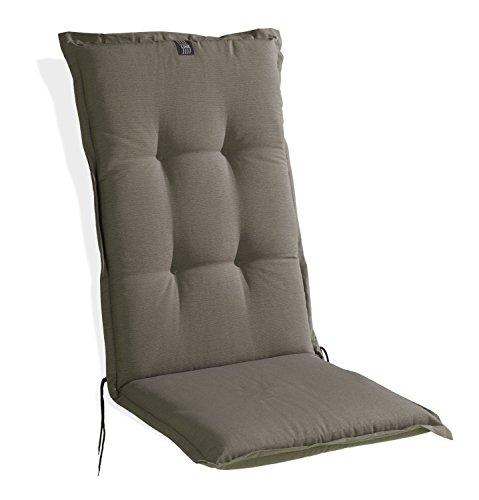 Sesselauflage Sitzpolster Gartenstuhlauflage für Hochlehner TAUPE 1 | 48x120 cm | Taupe