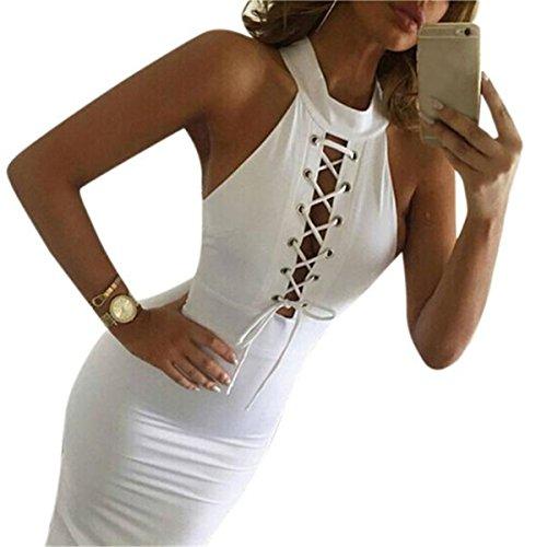 Sunnywill Bandage Club figurbetonten ärmellosen Cocktail Party binden Kleid für Mädchen Damen (S) (Kleider Ombre Party)