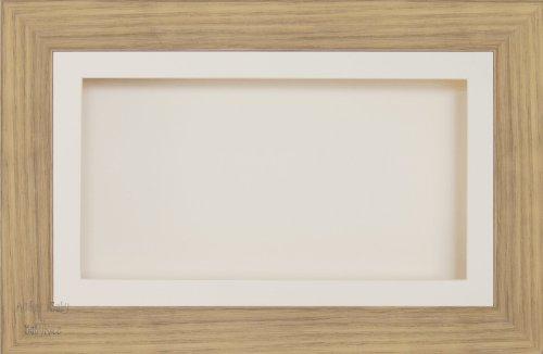 BabyRice groß 17,8x 33cm/33x 17,8cm Display Holz Box Rahmen in Eiche wirken, mit Die Passepartout und Rückseite, Glas-Front, 36,8x 21,6cm -