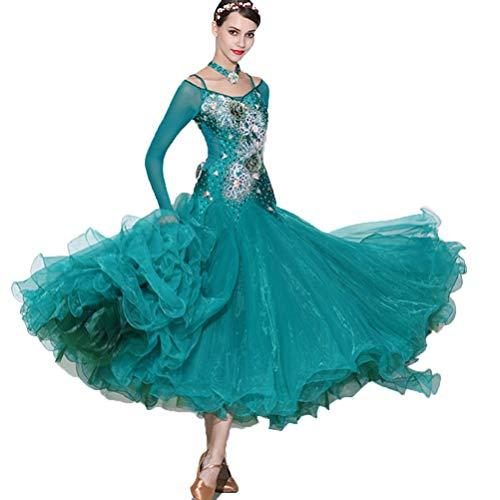 MoLi Herrlich Standard Ballsaal Tanzen Turnierkleid für Damen, Professionel Walzer Tango Performance Dancewear Salsa Kleider (Irischen Tänzerin Kostüme)