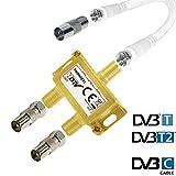 TronicXL IEC Verteiler Antennenverteiler TV Kabel Adapter Kabelfernsehen 2fach DVBC Koax zb für Unitymedia Splitter