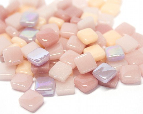 Craft Mosaic tiles - 8mm - Glass Micro Mosaic - Pink Fizz