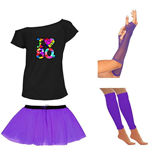 I Love 80s Purple Scoop Neck T-Shirt and Skirt Set - 8 to 16 - Many Colours