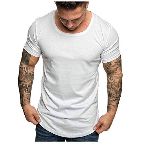 kolila Sommer T-Shirts Kurzarm Herren Klassische Einfache Feste Oansatz Slim Fit T Bluse Lässige Tops Pullover(Weiß,XL) -