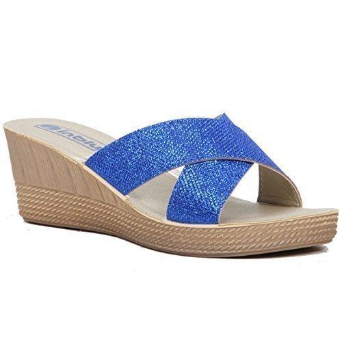 Femmes À Enfiler Sandales Semelle Compensée, Croix En Strass Lanière Décontracté chaussure été Bleu