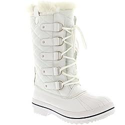 Mujer Nieve Bota Nylon Tall Invierno Nieve Impermeable Piel Lluvia Bota - Blanco - 39