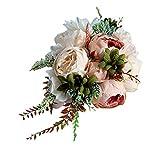 Brautstrauß, Vaeiner, romantisch, Brautjungfer, Hochzeit, Blumenstrauß Wasserfall, künstliche Blumen, Sukkulente, lange Band, Retro-Stil, luxuriöse Party-Dekoration