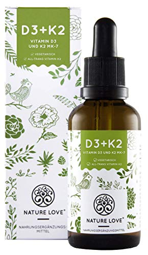 Vitamin D3 + K2 Tropfen 50ml. Premium: Gnosis® VitaMK7 99,7% All Trans + hoch bioverfügbares D3 (1000 IE). Laborgeprüft, flüssig, hochdosiert, hergestellt in Deutschland -