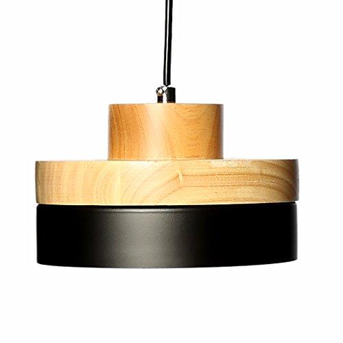 E27 Métal Vintage Suspensions Luminaires Lamps Antique Plafonnier Luminaire Lumiere Industriel Retro Suspensions Lumiere Lampe LED Aluminium Plafond Lustre Metal et Bois Luminaire éclairage Plafonnier Lustre Lampe (Noire)