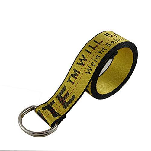 Hot ow street fashion wild new double ring buckle metal yellow industrial ribbon black belt men women belt