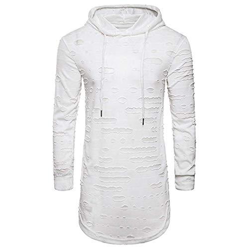 Shirt Herren Männer Pullover Mode Hoodie Loch Langarm Hemd Unikat Style T Shirt Casual Slim Fit Top Bluse Frühling Kleidung Schwarz Weiß (Color : Weiß, Size : M)