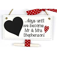 Handmade Personalised Wedding Countdown Plaque with Chalkboard Heart - Engagement Gift '.days until we become Mr & Mrs.' red polka dot
