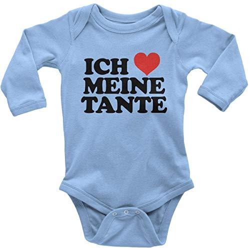 Liebe Mama Meine Kostüm Ich - Mikalino Babybody mit Spruch für Jungen Mädchen Unisex Langarm Ich liebe meine Tante | handbedruckt in Deutschland | Handmade with love, Farbe:sky, Grösse:68