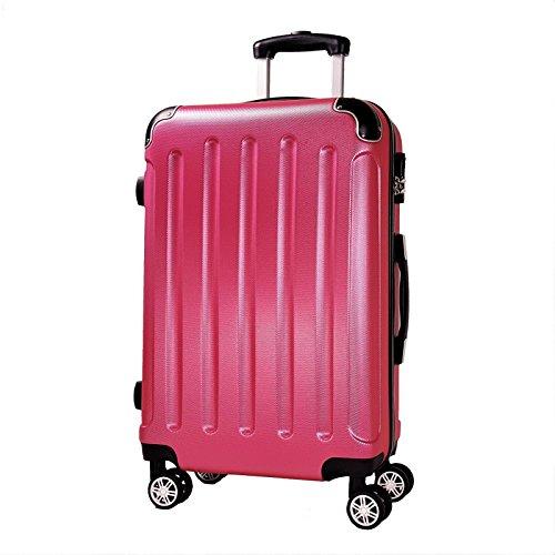 Reisekoffer BERLIN Hartschale Trolley XL Reise Koffer Case Tasche Trolly Doppelrollen (Rosa)
