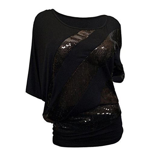 MCYs Sommer Damen Rundhals Pailletten Bat Sleeve Kurzarm T-Shirt Bluse Übergröße Patchwork Lose Casual Oberteil Hemd Tank Top Sweatshirt (2XL, Schwarz) (Seiden-camisole Perlen Mit)