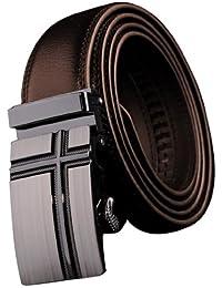 Panegy - Cinturón de Piel Cuero con Hebilla Automática Para Hombres - Marrón - 105cm 110cm 115cm 120cm 125cm 130cm