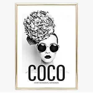 Kunstdruck, Sprüche Poster: Coco - I don't do fashion, I am fashion | Hochwertiges und festes Premiumpapier | Ohne Rahmen