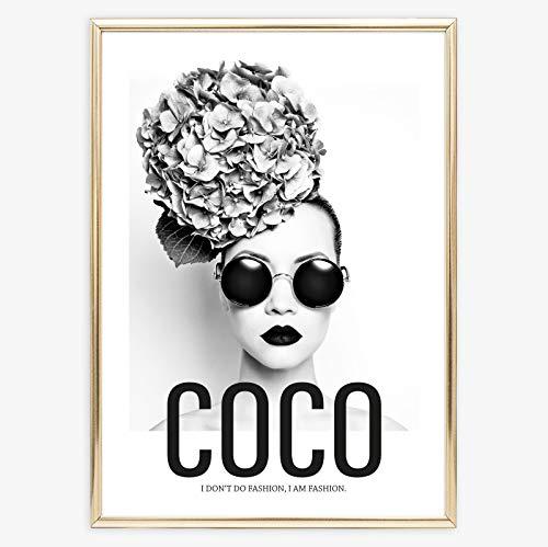 Kunstdruck, Sprüche Poster: Coco - I don\'t do fashion, I am fashion | Hochwertiges und festes Premiumpapier | Ohne Rahmen