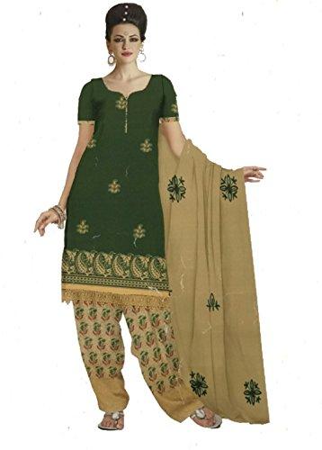 D.Chiku Rumisha Salwar Kameez Dupatta Indian Dress Material in Green & Yellow...