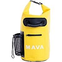 Mava Sport impermeabile borsa con tasca custodia e tracolla per barca, trekking, Rafting, campeggio, pesca, snowboard, Spiaggia e sport acquatici, unisex, Yellow, 15 L