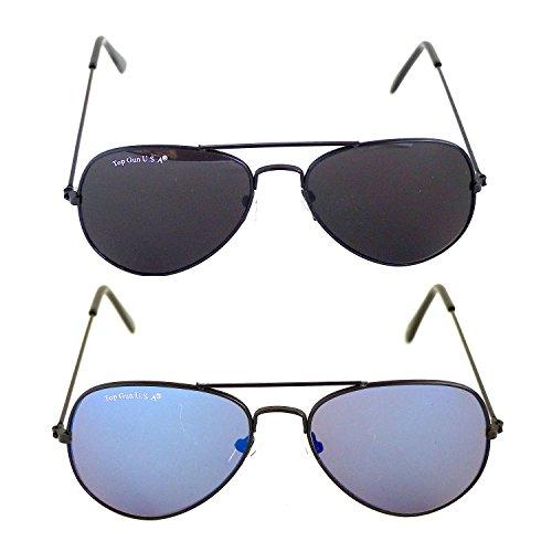 KINDER Pilotenbrillen 2 Stück ,,Schwarz und Blau,,