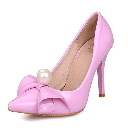 AgooLar Damen Ziehen Auf Hoher Absatz Pu Leder Eingelegt Spitz Zehe Pumps Schuhe Lila