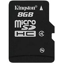 Kingston SDC4/8GBSP - Tarjeta microSD de 8 GB (clase 4, 3.3 V), negro