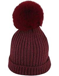 Mitlfuny Niños Niñas Sombreros de bebé Unisex Desmontable Bola de Pelo  Grande Gorro de Punto Invierno fdd6ee35e1a
