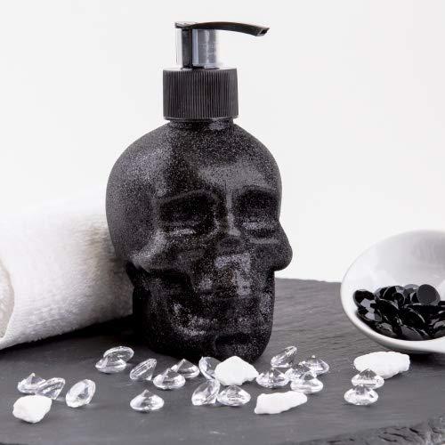 Accentra Seifenspender Totenkopf mit Flüssigseife - Schädel/Skull - Totenkopf Deko für Das Badezimmer -schwarzer Chrome-Look Pumpspender (Glitter) -