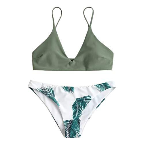 Overdose Bikini Set Damen Push-Up Gepolstert BH und Bikinihosen mit Blatt Pattern Strand Swimsuit Beachwear Swimwear Bademode Badeanzug
