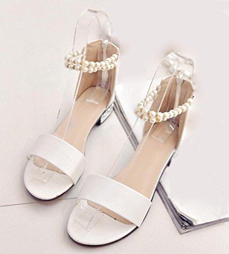 fermoir perle talons bas sandales à bout ouvert mot après sac à fermeture éclair avec des sandales plates sandales femmes White