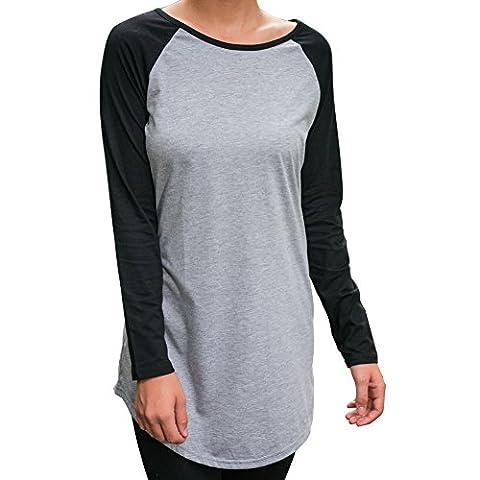 Kinikiss - Top à manches longues - Tunique - Uni - Femme gris gris - gris - Large