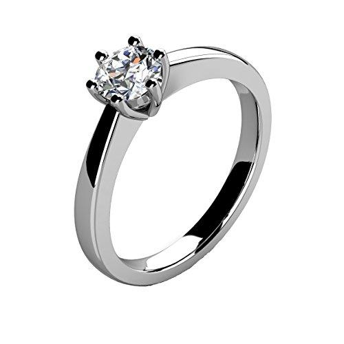 BuyFineDiamonds - 950_Platin Platin Brilliant Rund Weiß/Wesselton (H) Diamant