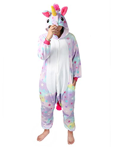 Einhorn Pyjamas Kostüm Jumpsuit Tier Schlafanzug Erwachsene Unisex Fasching Cosplay Karneval (X-Large, ()