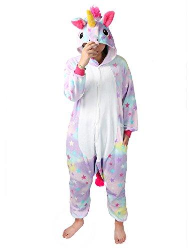 Combinaison Pyjama Licorne Unisexe Costume Cosplay Déguisement Grenouillère Animal- Très Chic Mailanda (XL, étoile)