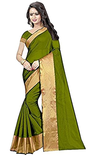 Sarees ( sarees for women party wear offer designer sarees below 500 rupees sarees for women latest design sarees for women party wear sarees for women sarees below 1000 rupees sarees new collection sarees new collection party wear sarees new collection 2017 party wear Mehendi Green Color Cotton Polyester Silk Fabric )  available at amazon for Rs.427
