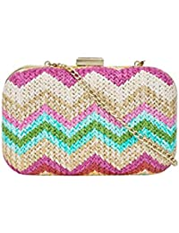 Chumbak Women's Chevron Weave Clutch (Pink)