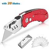 Cuchillo de utilidad, Cuchillo de utilidad plegable AGPTEK Cuchilla afilada SK5 con 10 cuchillas de repuesto adicionales, Cuchillo de Bolsillo de Tamaño Reducido con Diseño de Bloqueo
