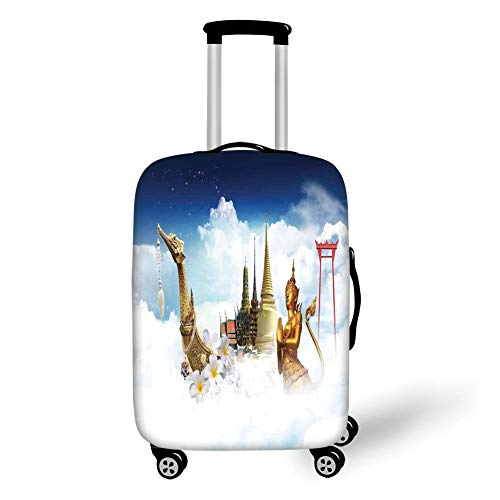 Travel Luggage Cover Suitcase Protector,Asian,Collection of Asian Meditation Icons Elements Over Clouds Yoga Yin Yang Image,Golden Black White,for Travel,M - Element Spandex Shorts