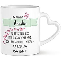 Tassenwerk - Herzhenkeltasse mit Liebesgedicht Aufdruck – Personalisiert mit Namen – Kaffee - oder Tee-tasse – Geschenk zum Geburtstag – Jahrestag – zum Valentinstag – Geschenk für Männer und Frauen – für Paare
