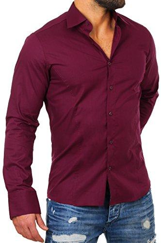 Redbridge Herren Business-Hemd, Einfarbig Bordeaux