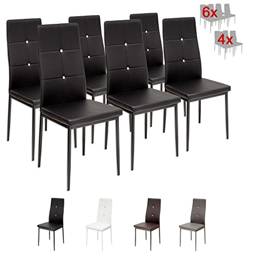 Albatros 3098 Diamond Set de 6 sillas de comedor, negro, SGS tested