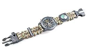 Usage 5 en 1 avec montre Kit Paracorde de survie pierre à feu boussole, sifflet sauvetage Bracelet Boucle de vitesse
