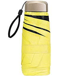 Vicloon Mini Paraguas, Paraguas de Viaje Portátil 6 Varillas, Paraguas Plegables con 210T Negro Tela de Goma, Aleación de Aluminio de Costilla & Mango Dorado, Resistencia UV & Impermeable