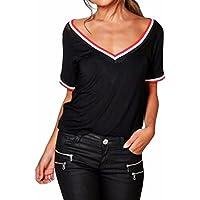 Ba Zha HEI Elegant Frauen Modisch Damen Kurzarm V-Ausschnitt Rippstrick-T- Shirt e2fbaefd8b
