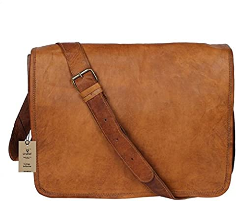 """Crafat 100% Pure Leather Tanned 15"""" Laptop Shoulder Office Cross body Messenger Brown Full Flap"""
