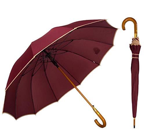 AP® - Automatik Regenschirm windfest für Damen und Herren - eleganter Stock-Schirm aus Holz - 12 fache Verstrebung Carbon Fiber - groß stabil & windresistent sturmfest - 115cm Ø (Bordeauxrot)