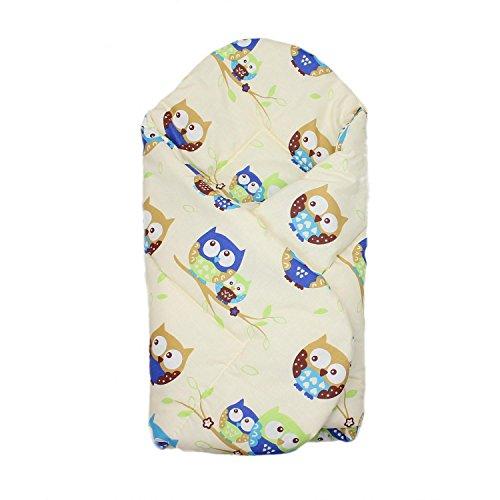 Baby Einschlagdecke Babydecke zum Einwickeln 100% Baumwolle Wickeldecke Warm Wattiert Wickelsack, Farbe: Eulen Beige, Größe: ca. 75 x 75 cm