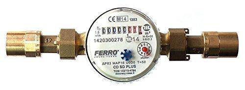 Ferro Eau Mètre pour Maison et Jardin 1.6m3/h Anti-magnétique connecteurs 22mm cuivre Eau Froide