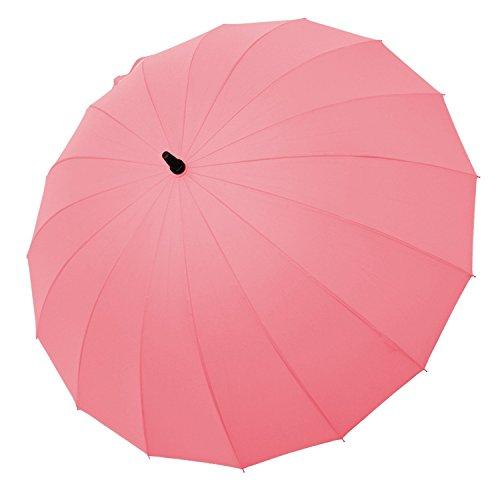 Saiveina 120 cm Regenschirm, automatisch, gerade, stark, langlebig, 190T Faser, wasserdicht, Winddicht, Sportschirm, 16 Rippen SV1258 - Pink -